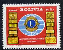 Bolivia 1967 Lions International Air stamp unmounted mint, SG 808, Mi 742*