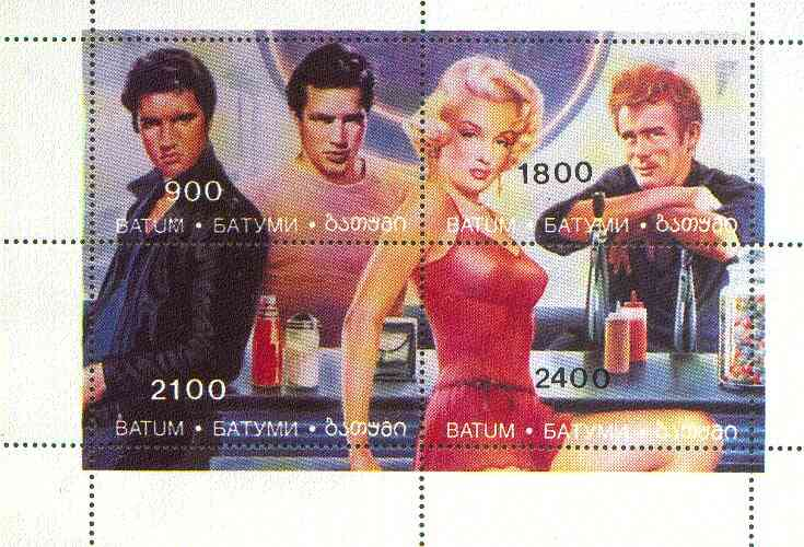 Batum 1995 Hollywood Stars (Elvis, Marilyn Monroe, Marlon Brando & James Dean) perf sheetlet containing 4 values unmounted mint