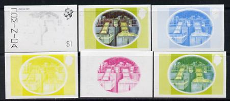 Dominica 1975-78 Lime Factory $1 set of 6 imperf progressive colour proofs comprising the 4 basic colours plus blue & yellow and blue, yellow & magenta composites (as SG 504) unmounted mint