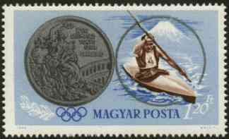 Hungary 1965 Canoeing 1fo20  from Tokyo Olympic Games perf set, SG 2051, Mi 2096
