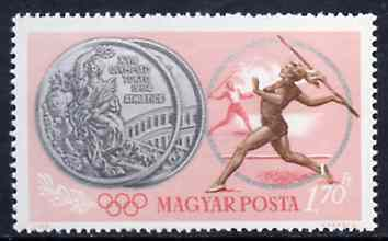 Hungary 1965 Javelin 1fo70  from Tokyo Olympic Games perf set, SG 2054, Mi 2099