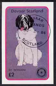 Davaar Island 1984 Rotary - Dogs (St Bernard) imperf deluxe sheet (£2 value) cto used