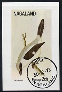 Nagaland 1972 Grey Shrike imperf souvenir sheet (2ch value) cto used