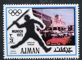 Ajman 1971 Javelin 3dh from Munich Olympics perf set of 20, Mi 728 unmounted mint