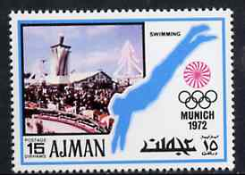 Ajman 1971 Swimming 15dh from Munich Olympics perf set of 20, Mi 735 unmounted mint