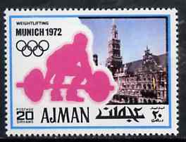 Ajman 1971 Weightlifting 20dh from Munich Olympics perf set of 20, Mi 736 unmounted mint