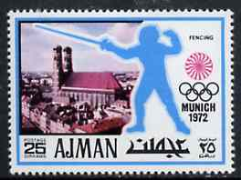 Ajman 1971 Fencing 25dh from Munich Olympics perf set of 20, Mi 737 unmounted mint