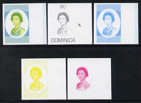 Dominica 1975-78 Queen Elizabeth II $10 set of 5 imperf progressive colour proofs comprising the 4 basic colours plus blue & yellow composite (as SG 507) unmounted mint