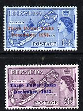 Bermuda 1953 Three Power Talks set of 2 with type II opts unmounted mint SG 152a-53a