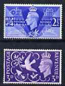 Great Britain 1946 KG6 Victory Commemoration set of 2 unmounted mint*