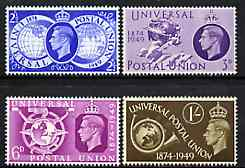 Great Britain 1949 KG6 75th Anniversary of Universal Postal Union unmounted mint set of 4