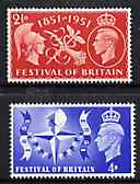 Great Britain 1951 Festival of Britain unmounted mint set of 2