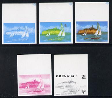 Grenada 1975 Yachts 1/2c set of 5 imperf progressive colour proofs comprising black, magenta, blue plus blue & yellow and blue, yellow & magenta composites (as SG 649) un...
