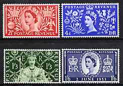 Great Britain 1953 Coronation set of 4 unmounted mint, SG 532-35, stamps on coronation, stamps on royalty