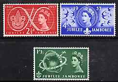 Great Britain 1957 World Scout Jamboree unmounted mint set of 3 SG 557-59