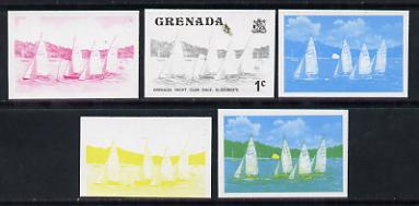Grenada 1975 Yacht Club Race 1c set of 5 imperf progressive colour proofs comprising the 4 basic colours plus blue & yellow composite (as SG 650) unmounted mint