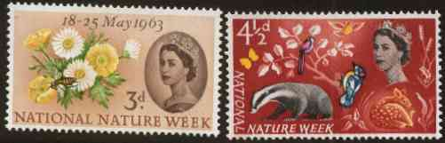 Great Britain 1963 Nature Week set of 2 (ordinary) unmounted mint SG 637-38