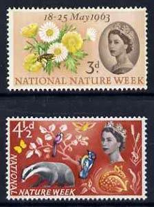 Great Britain 1963 Nature Week unmounted mint set of 2 (phosphor) SG 637-38p