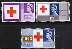 Great Britain 1963 Red Cross unmounted mint set of 3 (ordinary) SG 642-44