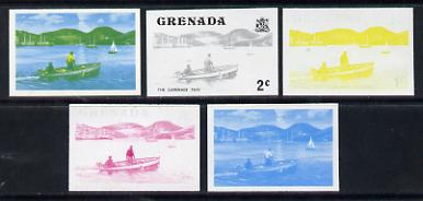 Grenada 1975 Carenage Taxi 2c set of 5 imperf progressive colour proofs comprising the 4 basic colours (the yellow showing a feint impression of 1c in black) plus blue & yellow composite (as SG 651) unmounted mint