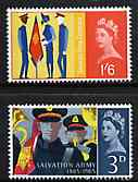 Great Britain 1965 Salvation Army Centenary unmounted mint set of 2 (phosphor) SG 665-66p