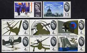 Great Britain 1965 25th Anniversary of Battle Of Britain unmounted mint set of 8 (phosphor) SG 671p-78p