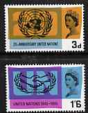 Great Britain 1965 United Nations & International Co-operation Year unmounted mint set of 2 (ordinary) SG 681-82