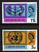 Great Britain 1965 United Nations & International Co-operation Year unmounted mint set of 2 (phosphor) SG 681-82p