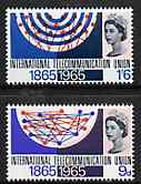 Great Britain 1965 ITU Centenary unmounted mint set of 2 (ordinary) SG 683-84