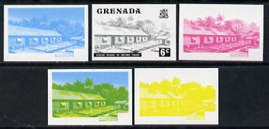 Grenada 1975 Cocoa Beans 6c set of 5 imperf progressive colour proofs comprising the 4 basic colours plus blue & yellow composite (as SG 654) unmounted mint
