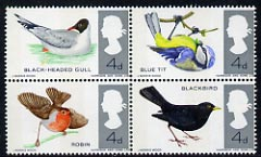 Great Britain 1966 British Birds unmounted mint se-tenant block of 4 (phosphor) SG 696pa