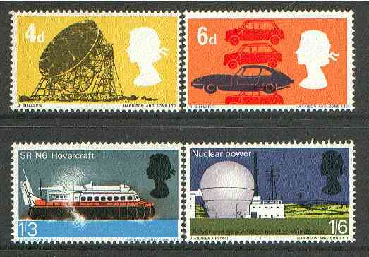 Great Britain 1966 British Technology unmounted mint set of 4 (phosphor) SG 701-04p