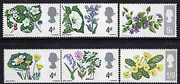 Great Britain 1967 British Wild Flowers unmounted mint set of 6 (phosphor) SG 717-22p