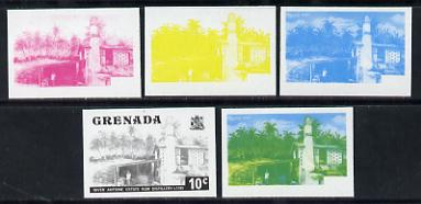 Grenada 1975 Rum Distillery 10c set of 5 imperf progressive colour proofs comprising the 4 basic colours plus blue & yellow composite (as SG 656) unmounted mint