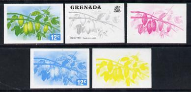 Grenada 1975 Cocoa Tree 12c set of 5 imperf progressive colour proofs comprising the 4 basic colours plus blue & yellow composite (as SG 657) unmounted mint
