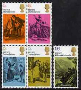 Great Britain 1970 Literary Anniversaries - Charles Dickens & William Wordsworth unmounted mint set of 5 SG 824-28