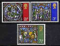Great Britain 1971 Christmas - Stained Glass Windows set of 3 unmounted mint, SG 894-6, stamps on christmas, stamps on stained glass