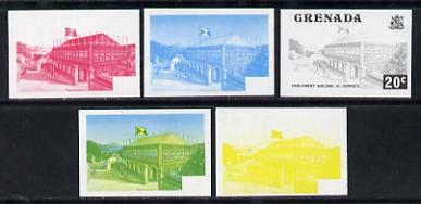 Grenada 1975 Parliament Building 20c set of 5 imperf progressive colour proofs comprising the 4 basic colours plus blue & yellow composite (as SG 659) unmounted mint