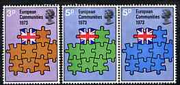 Great Britain 1973 Britain's Entry into EEC unmounted mint set of 3 SG 919-21