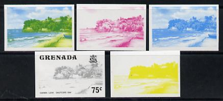 Grenada 1975 Sauteurs Bay 75c set of 5 imperf progressive colour proofs comprising the 4 basic colours plus blue & yellow composite (as SG 663) unmounted mint, stamps on tourism