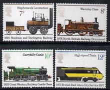Great Britain 1975 150th Anniversary of Public Railways set of 4 unmounted mint, SG 984-87