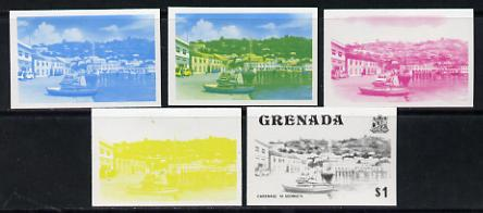 Grenada 1975 Carenage $1 set of 5 imperf progressive colour proofs comprising the 4 basic colours plus blue & yellow composite (as SG 664) unmounted mint