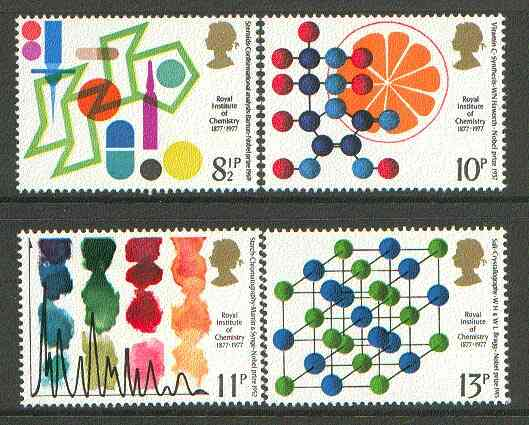 Great Britain 1977 Royal Institute of Chemistry Centenary unmounted mint set of 4 SG 1029-32