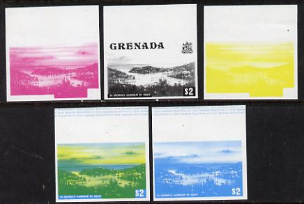 Grenada 1975 St George's Harbour $2 set of 5 imperf progressive colour proofs comprising the 4 basic colours plus blue & yellow composite (as SG 665) unmounted mint