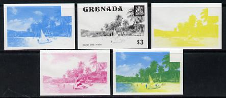 Grenada 1975 Grand Anse Beach $3 set of 5 imperf progressive colour proofs comprising the 4 basic colours plus blue & yellow composite (as SG 666) unmounted mint