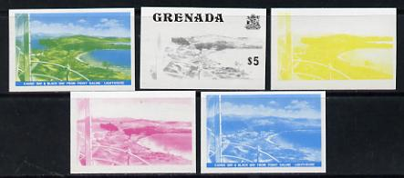 Grenada 1975 Canoe Bay $5 (View from Lighthouse) set of 5 imperf progressive colour proofs comprising the 4 basic colours plus blue & yellow composite (as SG 667) unmounted mint