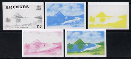 Grenada 1975 Sugar Loaf Island $10 set of 5 imperf progressive colour proofs comprising the 4 basic colours plus blue & yellow composite (as SG 668) unmounted mint