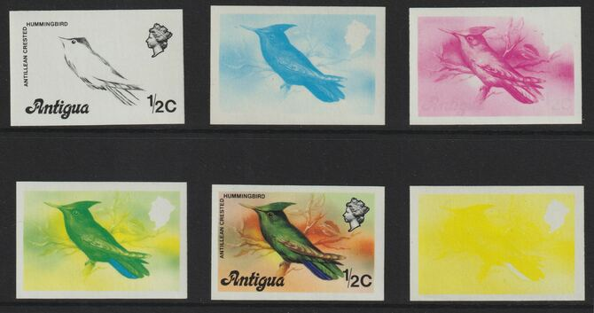 Antigua 1976 Crested Hummingbird 1/2c (without imprint) set of 5 imperf progressive colour proofs comprising the 4 basic colours plus blue & yellow composite (as SG 469A) unmounted mint