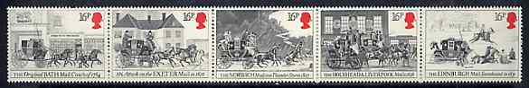 Great Britain 1984 First Mail Coach Run unmounted mint strip of 5 SG 1258a, stamps on postal, stamps on mail coaches, stamps on slania