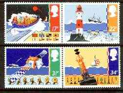 Great Britain 1985 Safety at Sea set of 4 unmounted mint, SG 1286-89 (gutter pairs available price x 2), stamps on rescue, stamps on lighthouses, stamps on shipping, stamps on satellites